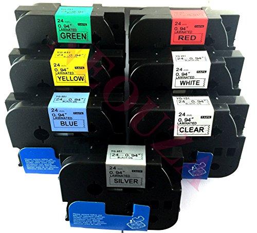 NEOUZA 5PK Compatibile per Brother P-Touch Laminated Tze TZ Label Tape Cartridge 24mm x 8m (Set di 7 colori diversi)