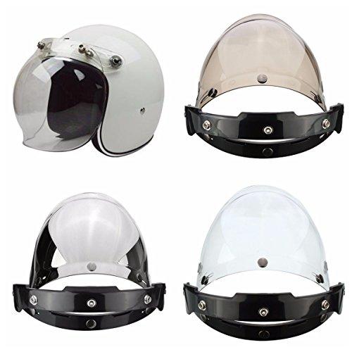 Viviance 3-Snap Button Bubble Visiera Flip Up Wind Face Shield Lente per Casco da Moto 3 Colore - Trasparente
