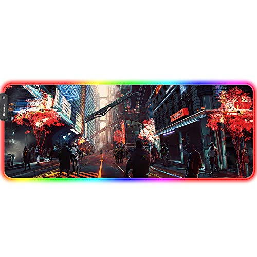 Bimormat Anime RGB Gaming Mouse Pad,Large LED Mousepad with Durable Nylon Stitched Edges and Non-Slip Rubber Base,31.5X 11.8 Inch Glowing Game Mouse Mat for Personalized Gamer (80x30 punkroad04)