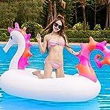 KCGNBQING Piscina flotando flotante fila de aire bed bed flotadores, 220 cm Hippocampo gigante Flotable flotante - Fiesta de agua Juguetes divertidos - Montar aire y colchón Recliner Natwn Ring Juguet