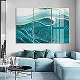 N / A Arte Abstracto de mármol Azul Lienzo Pintura al óleo impresión de Carteles Imagen Mural Sala de Estar Oficina decoración del hogar sin Marco 20x40 cm