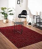 Bari - Alfombra vintage moderna con elementos clásicos, muy plana, aspecto usado, colores intensos, 160 x 230 cm, color rojo