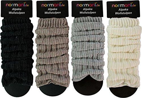 normani 2 Paar Alpaka Grobstrick Stulpen Legwärmer mit Alpaka und Schafwolle Farbe Wollweiß