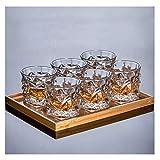 Teri Vasos de Cristal de Whisky, Juego de 6 Copas de Vino de Bourbon, Whisky escocés, cócteles, coñac de Bebida (Color : Transparent, tamaño : M)