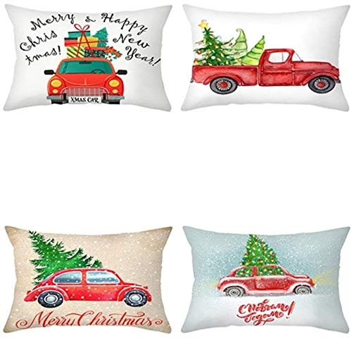 Ronglibai Cushion covers Green Cushion Covers Pack Of 4 Bolster Christmas Car Dog Pattern Printed Pillow Cases Shells For Home Sofa Couch Accent Geometric 30cm X 50cm