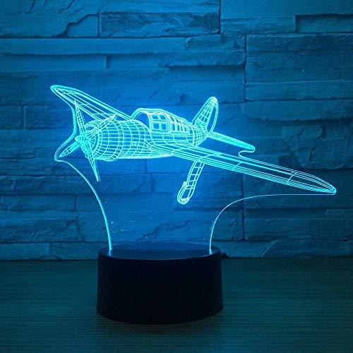 ZWANDP 3D Illusionslampe LED Nachtlicht Propeller Flugzeug 7 Farben für Kinder Touch USB Tisch Lampara Baby Sleeping