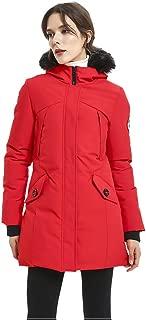 PUREMSX Women's Padded Jacket, Ladies Long Thicken Parka Faux Fur Down Alternative Winter Outwear Warm Overcoat