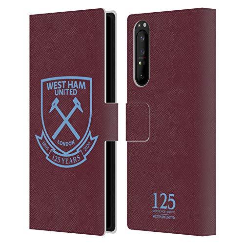 Head Case Designs Oficial West Ham United FC Cresta Claret 125 Año Aniversario Carcasa de Cuero Tipo Libro Compatible con Sony Xperia 1 II 5G