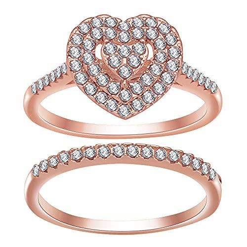 Juego de 2 anillos apilables para mujer, hombre, anillo apilable (6, oro rosa)