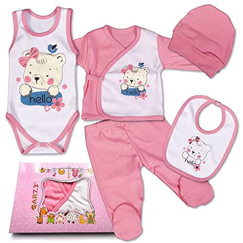 QAR7.3 Completo Vestiti Neonato 0-3 mesi - Set Regalo, Corredino da 5 Pezzi: Body, Pigiama, Bavaglino e Cuffietta (Rosa, taglia 56)