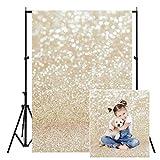 WOLADA 5X7FT Ivory Gold Bokeh Backdrop Golden Spots Sparkle (No Glitter) Sand Scale Halo Still Life Newborn Baby Portrait Birthday Party Backdrops Photo Backdrop Studio Props 11791
