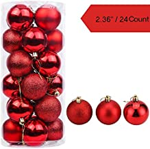 APSAMBR-Christmas RED Ball Ornaments Shatterproof Christmas Decorations Tree Balls for Holiday Party Decoration, Tree Ornaments Hooks not Included 24PCS(Red)