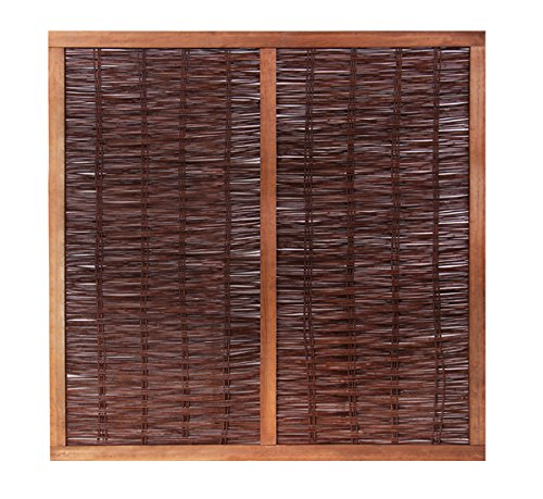 Papillon Heavy Framed Woven Willow Wicker Wattle Hurdle Fence Panels Garden Screening Wooden Fencing 1.8m x 1.8m (6ft x 6ft) With 1 Year Warranty