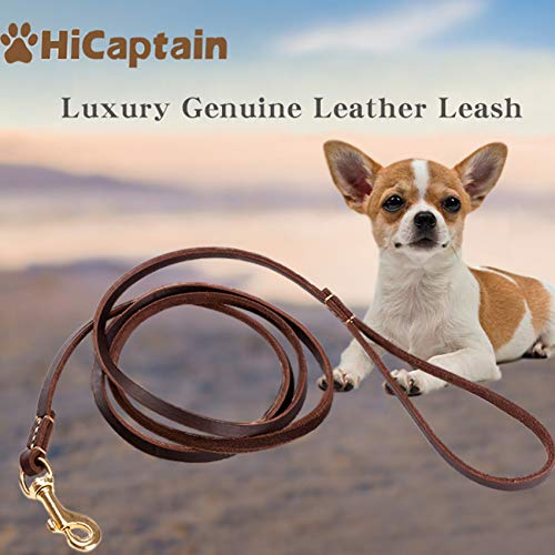 HiCaptain Thin Leather Dog Leash for Small Dogs Up to 15 lb (1/3 inch Wide, 6 Ft)