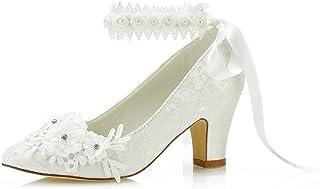 Mrs Right 62311B aux Femmes Chaussures de mariée Bout fermé Talon épais Dentelle satinée des Pompes Chaussures de Mariage