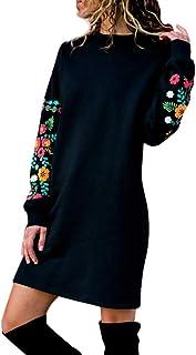 Felpa Donna Sweatshirt Elegante,Abito Donna Eleganti da Cerimonia,YanHoo Abito Felpa con Ricamo Floreale a Manica Lunga Ca...