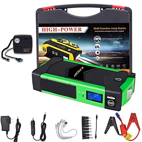 Hzlsy Arrancador Bateria Coche con USB LED 82800mAh 800A Pico Arrancador Coche Motor 6,0L Gas 5,0L DiéSel Jump Starter-BateríA AutomáTica Cargador Bancario con Bomba de Aire Green