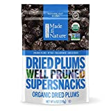 Made In Nature Organic Dried Plums, 6 Ounce (Pack of 6) - Non-GMO Vegan Dried Fruit Snack