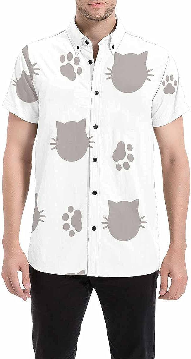 InterestPrint Cartoon White Sugar Skull Men's Summer Beach Spread Collar Tops Hawaiian Casual Shirt