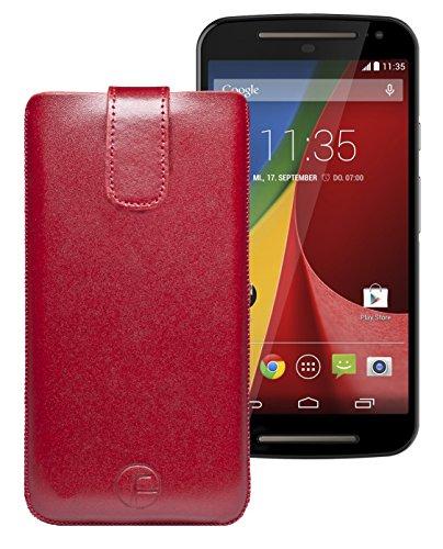 Original Favory Etui Tasche für / Medion Life X5001 (MD 98499) / Leder Etui Handytasche Ledertasche Schutzhülle Hülle Hülle *Speziell - Lasche mit Rückzugfunktion* In Rot