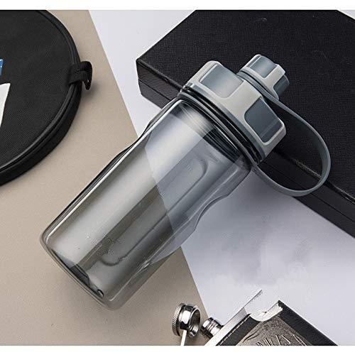 Botellas de Agua de Gran Capacidad de 2000 ml Botella Deportiva de plástico para Exteriores portátil con infusor de té Botellas de coctelera a Prueba de Fugas - Boca Doble 600 ml