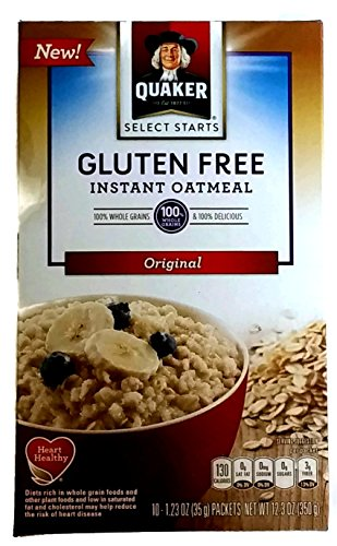 New Quaker Select Starts Gluten Free Instant Oatmeal, Original, 12.3 oz Box with 10-1.23 oz packets