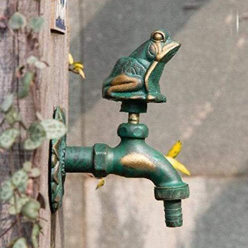 Yiffshunl Grifo de jardín Grifo de Gallo Forma Animal Bibcock Verde/Grifo de latón Antiguo para Lavar fregona/Animal de Agua de jardín