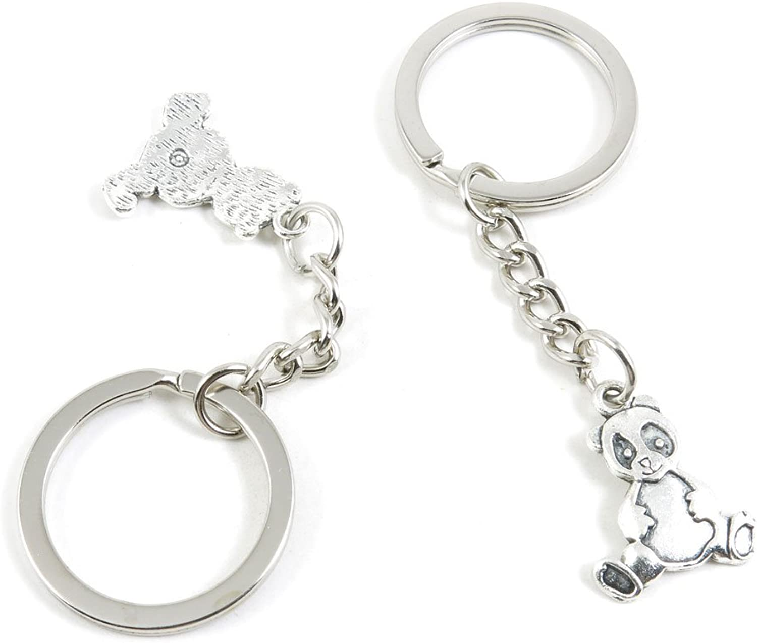 100 Pieces Keychain Keyring Door Car Key Chain Ring Tag Charms Bulk Supply Jewelry Making Clasp Findings A8KW0Z Panda