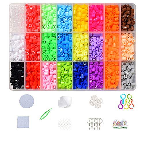 Huanup Fuse Beads Kit, Meltable Plastic Beads Craft Set 5500pcs 24 Colors 5mm Melting Iron Beads For Kids Crafting with Melty Beads Pegboards, Ironing Paper, Keychain Accessories and Patterns Booklet