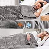 OMYSTYLE Warming & Cooling Weighted Blanket for Adult and Kids(25lb, 60 X 80 Inches) - Reversible Tencel/Short Plush Twin Size Weighted Blanket, Bonus Carry Bag Included