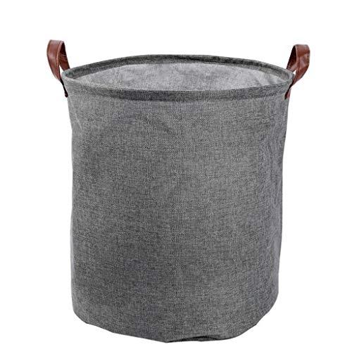 jieGorge - Cesta de almacenamiento impermeable de lino y algodón, con revestimiento de polietileno, color gris