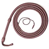 Ardour Crafts 04 to 16 Feet Long Nylon para-Cord Bullwhip 12 Plaits Paracord Custom Bull Whip with Leather Belly & Bolster Construction Brown (08 Feet)