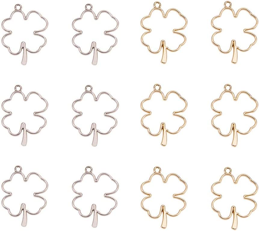 OLYCRAFT 16pcs Four-Leaf OFFicial site Clover Open Alloy 2-Color Bezel New Free Shipping Charms