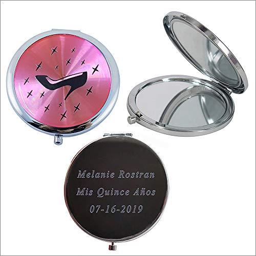 Personalized Silver Compact Mirror Favor (12 PCS) - Cinderella High Heel Shoe Design Quinceanera/ Sweet 16/ Zapatilla de Cenicienta Birthday Gift (White)