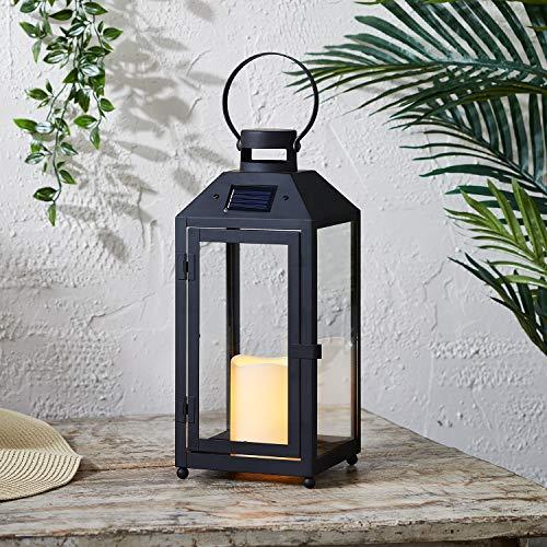 Lights4fun Lanterna Solare in Metallo Nero di 33,5cm con LED Bianco Caldo per Esterni