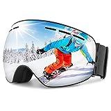 OMORC Lunette de Ski Unisexe,Masque de Ski Protection UV400 Anti-Buée Vision 180° Grand Angle Compatible Casque pour Ski/Snowboard/Moto/VTT
