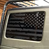 Skull Daddy Graphics JL JK JKU Hard top Window USA Distressed Flag Decals Stickers to fit Jeep Wrangler 2007-2020 (JKU 4door Both Sides)