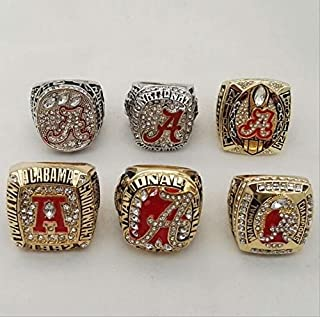 Alabama Crimson Tide championship rings 1992/2009/2011/2012/2015/2015 6 Series championship rings Replica Fans Souvenir, wooden box,Size:11 (6PCS)