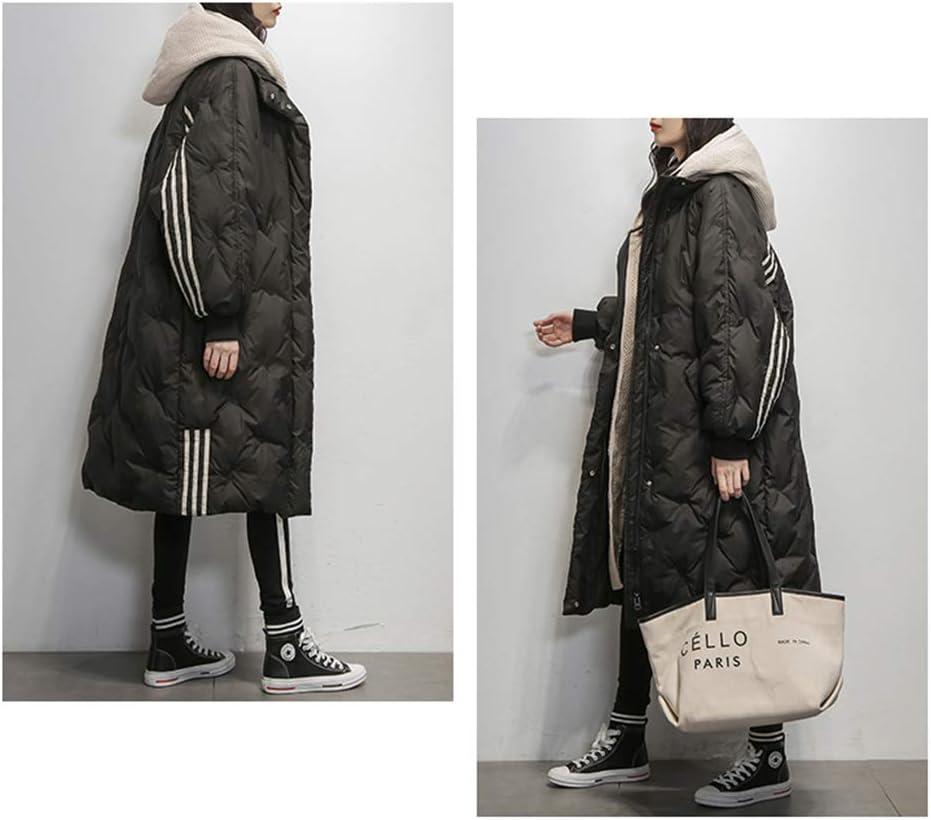 FAPROL-Down Jackets Damen Daunenmantel Lange Warme Lose Jacken Mit Kapuze Winter Weiße Ente Daunenjacke, Fashion Line Dekoration Kleidung Black