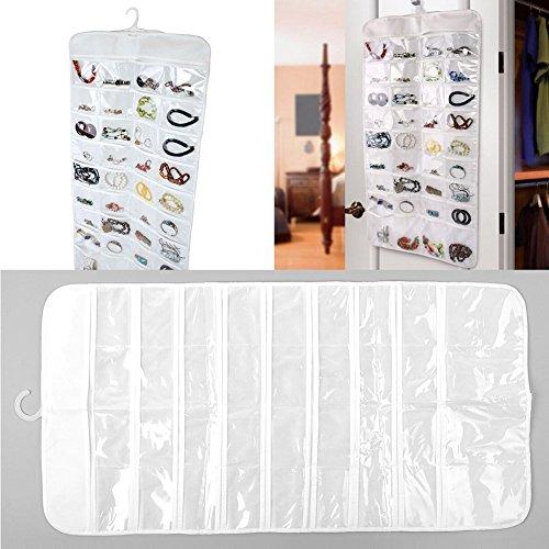 Soledì- Organizer Mostra Sospeso Doppia Lati 72 Tasche Trasparenti Porta Braccialetti Anelli Gioielli Collane in Plastica Borsa Borsetta In modo sistemato (Set di 3)