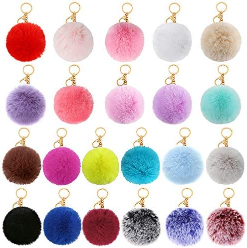 Auihiay 22 Pieces Pom Poms Keychains Faux Rabbit Fur Pompoms Keyring Fluffy Pompoms Keychain product image