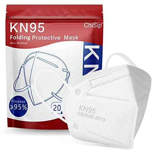 ChiSip KN95 Face Mask, 5 Layer Cup Dust Safety Masks, Breathable Protection Masks Against PM2.5 Dust for Men, Women, 20Pcs White