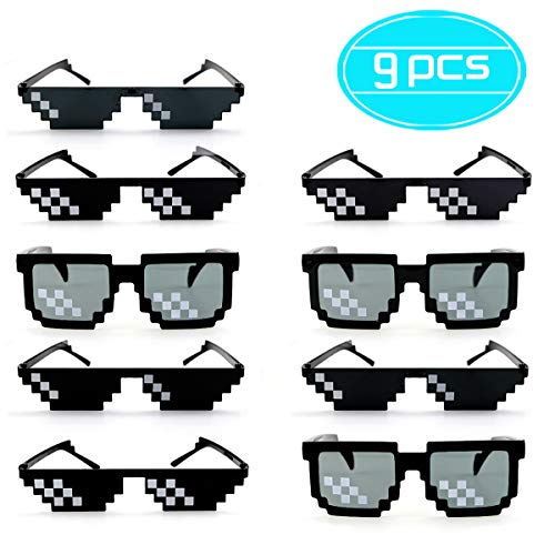 Twdrer 9PCS Thug Life Sunglasses Decorative Pixelated Mosaic Glasses Gamer MLG Shades Photo Props Unisex Glasses for Party,Cosplay