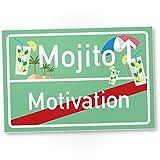 DankeDir! Mojito Motivation lustiges Deko Kunststoff Schild mit Spruch - Wanddeko Dekoration Türe Wohnung Büro - Geschenkidee Geburtstagsgeschenk - Geschenk Trinkspiele