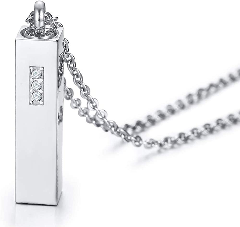 Stainless Steel Long Bar Style Cubic Zircon Cremation Ash Urn Keepsake Pendant Memorial Funeral Necklace