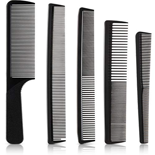 5 Pieces Hair Cutting Comb Barber Comb Hair Styling Combs Fine Teeth Carbon Comb Set Anti Static Heat Resistant Hairdressing Tapered Comb for Men Women