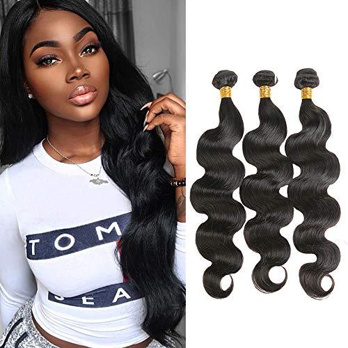 Brazilian Body Wave 3 Bundles Unprocessed Virgin Hair Weave 100% Human Hair Extensions Natual Black Color (16 16 16 Inch)