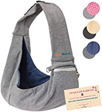 BUDDY TASTIC Pet Sling Carrier - Reversible and Hands-Free Dog Bag with Adjustable Strap and Pocket - Soft Puppy Sling for Pets up to 13 lbs (Grey/Navy Blue)