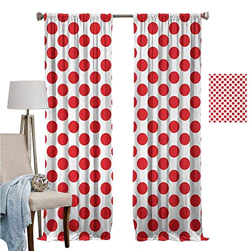 Wear Pole Curtains Rod Pocket Window Curtain 50s 60s Old Pop Art Retro Vintage Polka Dots Rounds Circles Design Art Print Scarlet White Bedroom Living Room Decoration Set of 2 Panels W96 x L96