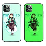 Carcasa de Telefono,Anime Ghost Slayer Tanjirou Resistente Al Desgaste Luminoso Funda para iPhone Templado Funda Protectora For iPhone 13